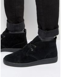 Bellfield | Borg Lined Chukka Boot In Black Suede | Lyst