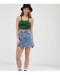 6fd92ff07205 Bershka Leopard Print Denim Skirt in Green - Lyst