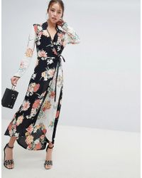 Miss Selfridge - Maxi Dress With Wrap Front In Mixed Floral Print - Lyst