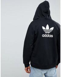 adidas Originals - Trefoil Zip Through Hoodie In Black Dn6016 - Lyst