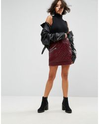 ASOS - Leather Look Puffer Mini Skirt With Quilting Detail - Lyst