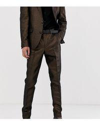 ASOS - Pantalones ajustados de traje en acabado metlico de - Lyst