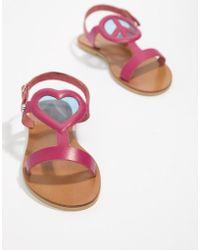 Love Moschino - Heart Flat Sandals - Lyst