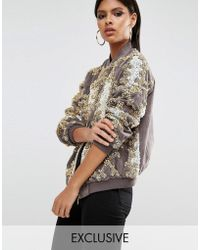 A Star Is Born - Allover Embellished Bomber Jacket In Baroque - Lyst