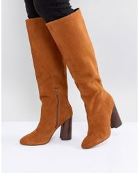17ca358992f ASOS - Asos Cabrinie Suede Pull On Knee Boots - Lyst
