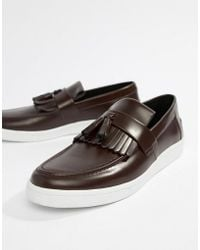 348ea8022cc Fred Perry - George Cox Tassle Leather Contrast Sole Loafers In Oxblood -  Lyst