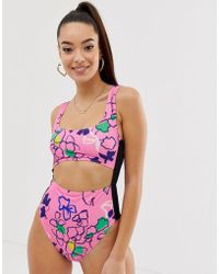 d84ad1f4af4 ASOS - Recycled Tab Side High Waist Swimsuit In Pink Outline Floral Sketch  Print - Lyst