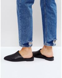 INTENTIONALLY ______ - Black Titan Leather Flat Mules - Lyst