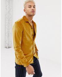 ASOS - Regular Fit Revere Velour Shirt Mustard - Lyst