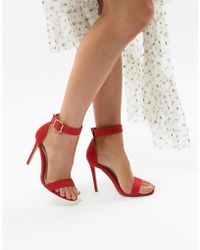 Missguided - Ankle Strap Barely There Heeled Sandal - Lyst