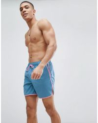ASOS - Runner Swim Shorts In Blue With Pink Binding In Mid Length - Lyst