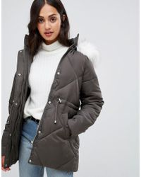 New Look - Faux Fur Trim Quilted Coat - Lyst