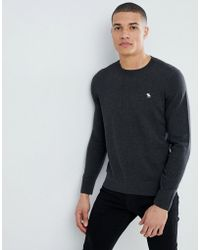 Abercrombie & Fitch - Core Icon Logo Crew Neck Knit Sweater In Dark Gray Marl - Lyst