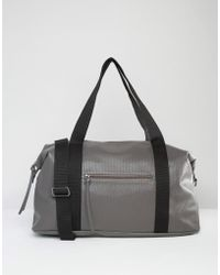 Pieces - Textured Travel Bag With Contrast Strap - Lyst