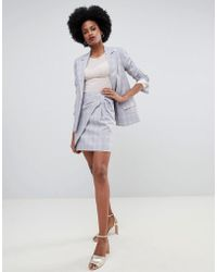 Oasis - Bow Detail Wrap Over A-line Mini Skirt In Grey Check - Lyst
