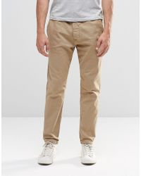 Abercrombie & Fitch - Woven Cuffed Jogger In Stretch Canvas In Beige - Lyst
