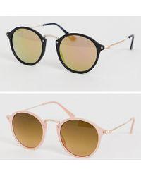 8f3cf7dec ASOS 2 Pack Round Sunglasses With Skinny Metal Nose Bridge In Tortoise And  Black