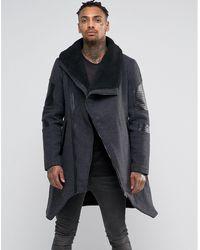 Black Kaviar - Asymetric Wool Coat With Fleece Collar - Lyst