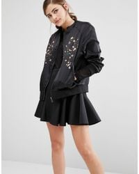 Fashion Union - Satin Bomber Jacket With Embroidery - Lyst