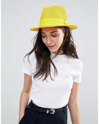 Liquorish - Straw Trilby Hat With Ribbon - Lyst