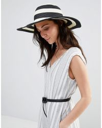 Liquorish - Stripe Straw Floppy Hat - Lyst