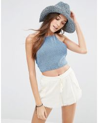 Hollister - Floppy Straw Hat - Blue Marl - Lyst
