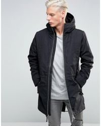 ADPT - Parka With Fishtail And Two Way Zip Detail - Lyst