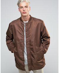 ADPT - Dpt Longline Bomber Jacket With Drawstring Hem And Two Way Zip - Lyst
