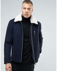 ADPT - Jacket With Borg Collar And Two Way Zip - Lyst