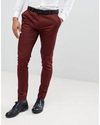 ASOS - Wedding Super Skinny Smart Trousers In Burgundy Cotton Sateen - Lyst