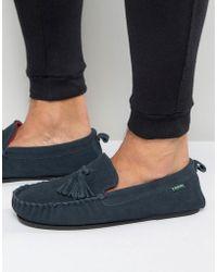 Dunlop Suede Tassel Slippers In Navy Suede - Blue