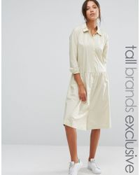 ADPT - Dpt Tall Button Front Long Sleeve Dress With Collar Detail - Lyst