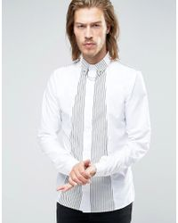 Rogues Of London - Skinny Shirt With Stripe Shawl - Lyst