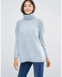 Soaked In Luxury - Roll Neck Jumper With Openknit Trim - Celestial Blue - Lyst