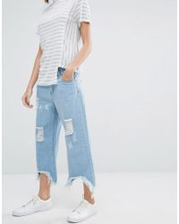 Daisy Street - Relaxed Wide Leg Jeans With Raw Hems And Distressing - Lyst