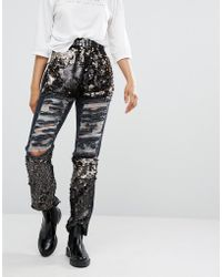 Daisy Street - Distressed Boyfriend Jeans With Sequin Panels - Lyst