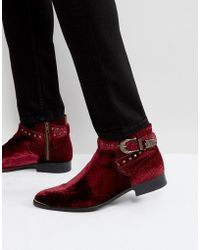 House Of Hounds - Axel Embossed Velvet Buckle Boots In Red - Lyst