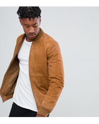 ASOS - Tall Suede Bomber Jacket In Tan - Lyst