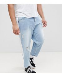 ASOS DESIGN - Asos Plus Skater Jeans In Light Wash With Abrasions And Side Stripe - Lyst