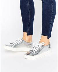 Faith | Silver Metallic Lace Up Sneakers | Lyst