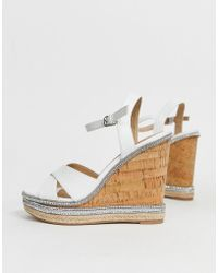 Dune - Head Over Heels Maissie White Embellished Cork High Wedges - Lyst