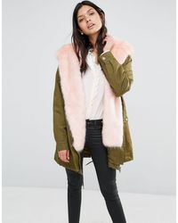 Little Mistress - Hooded Parka With Contrast Faux Fur Lining - Lyst
