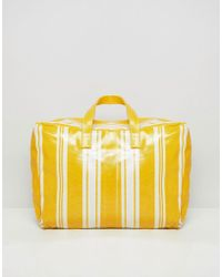Mango - Stripe Plastic Holdall In Yellow Multi - Lyst