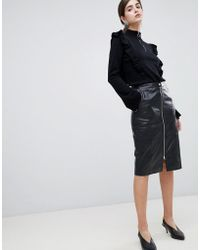 Gestuz - Nadine Leather Pencil Midi Skirt With Zip Front - Lyst