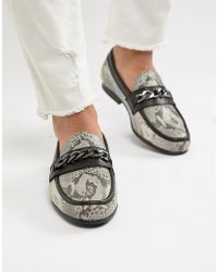 ASOS - Loafers In Snake Print With Snaffle - Lyst