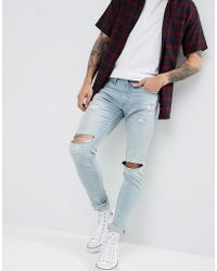 Hollister - Super Skinny Distressed Repair Jeans In Super Light Wash - Lyst