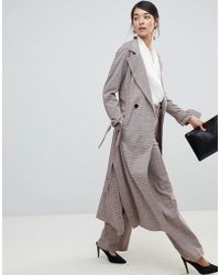 Closet - Trench Coat With Tie Sleeve In Check - Lyst