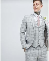 River Island - Skinny Suit Jacket In Grey Check - Lyst