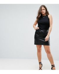 ASOS - Textured Leather Look Mini Skirt With Tulip Waist - Lyst
