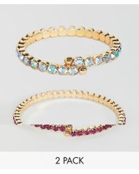 ASOS - Pack Of 2 Bracelets With Coloured Crystals In Gold - Lyst